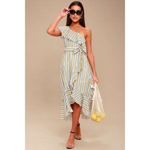 Lulus High Tide Yellow Striped One Shoulder Dress